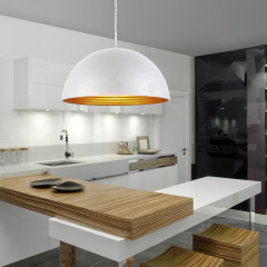 AZzardo Modena 50 White/Gold - Pendant - AZZardo-lighting.co.uk