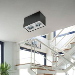 AZzardo Eloy 2 Black/Alu - Ceiling - AZZardo-lighting.co.uk